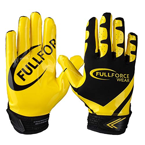 Receiver Football Gloves, Full Force Victory American Football Handschuhe - schwarz/gelb Gr. M