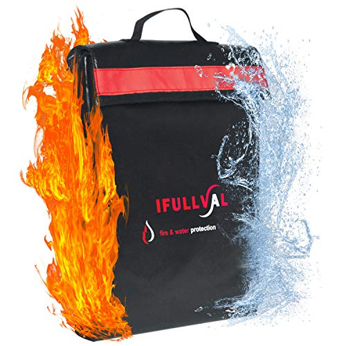 Fireproof and Waterproof Money and Important Documents Bag - Fire Resistant Storage Holder for Valuables, Passports , Laptop - Large size with Double Closure , Reflective Band