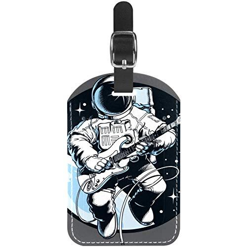 Astronauta Tocando Guitarra eléctrica Suave y cómoda Personalidad DIY Etiqueta de Equipaje...