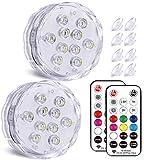Magnetische Unterwasser Licht mit RF-Fernbedienung - Qoolife RGBW Mehrfarbige Poollicht IP68 Wasserdichte LED Unterwasser Licht für Badewanne, Spa, Aquarium, Weihnachten, Dekoration -2 Stück