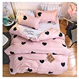 ORIHOME Twin Bedding Set Love Heart Print– 3 Piece Bedding Sets One Duvet Cover Without Comforter Insert and Two Pillowcase – Teen Bedding for Kid Girl Bedroom (Love Heart,Pink, Twin,66''x86'') …