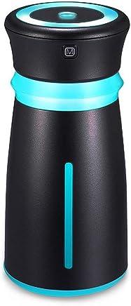 Meet now 300ML和風加湿器カップテーブルアロマ加湿器超音波加湿器アロマディフューザー小型ナシ型殺菌空気清浄機超静音LEDライト間接照明乾燥防止時間設定室内オフィス干渉花粉症対策 (Color : Black)