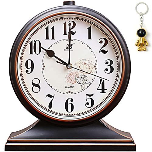 테이블 장  데스크 시계 벽난로 맨텔 거실 침실 사무실 데스크톱 장  레트로 맨텔 시계 배터리(검은색)