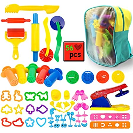 ImnBest Clay Dough Tools Set & Play Dough Tools assecories Kit for Kids with Molds and Extruder Tools with Packing Bag (56 Pieces)