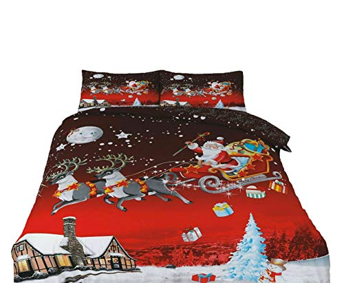 Northern Luxe Christmas Reindeer Father Xmas Duvet Cover Set Presents Two Pillow Case and Quilt Bedding Set (Bedding Size Double and King)