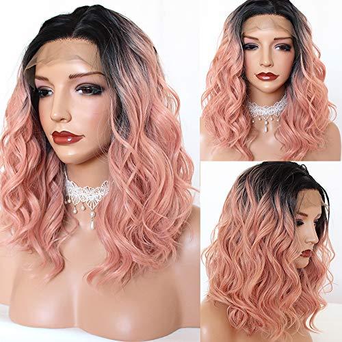 PlatinumHair Perruque synthétique avec cheveux ondulés et sans colle pour femme 40 cm Rose