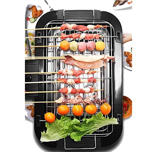 Barbecue Electrique de Table, Grille Barbecue Electrique 2000W Double Étages, Gril en Acier Inoxydable avec Bac Collecteur d'eau pour Appartement Jardin Balcon Terrasse, 48 * 29.5cm