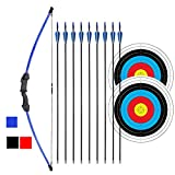 iMay 45' Recurve Bow and Arrows Set Outdoor Archery Beginner Gift Longbow Kit with 9 Arrows 2 Target Face 18 Lb for Teen (Blue)