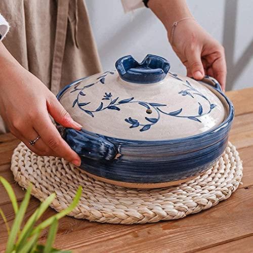 XLBHSH Casseruola Tradizionale del Vaso di Argilla Giapponese Tradizionale, Vaso Caldo della Famiglia, casseruola in Ceramica dell'isolamento Rotondo, pentola per la Vapore a Vapore,2.2L