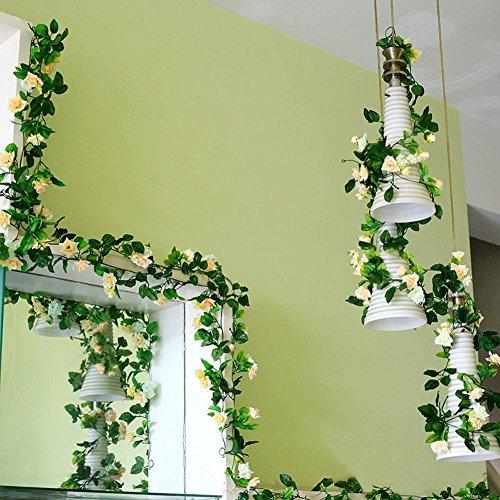 2 PCS Guirlandes à Roses Artificielles avec Feuille Verte et Liane en Plastique pour Décoration de Jardin, de Maison ou de Mariage