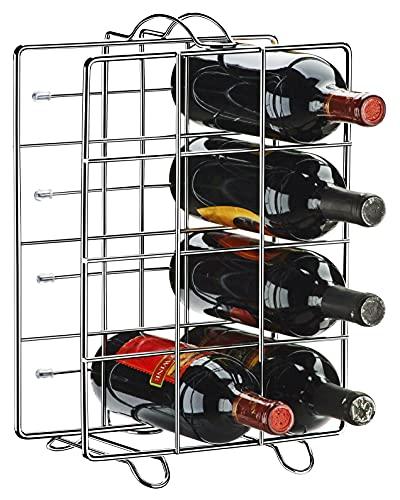 Suporte ou Adega para 12 Garrafas de Vinho de Aço para Chão ou Bancada Cromada CR425 Utimil