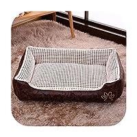 犬のベッド小さな大きな犬冬暖かいベッドリバーシブルペット猫子犬大きな犬のベッドソファチワワハウス犬小屋ペット-Beige-L 70X55X22cm