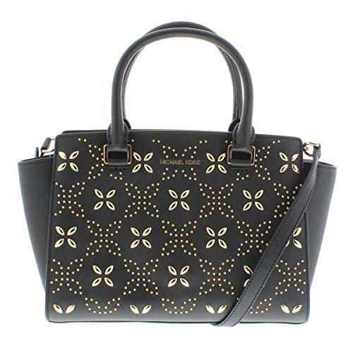"""Black saffiano leather w/ gleaming embellished floral motif. Top zip closure. Exterior features gold-tone hardware. Double top handles with 4"""" drop. Adjustable crossbody strap with 17.5"""" - 19.5"""" drop. Interior features 1 zip pocket, 2 slip pockets an..."""