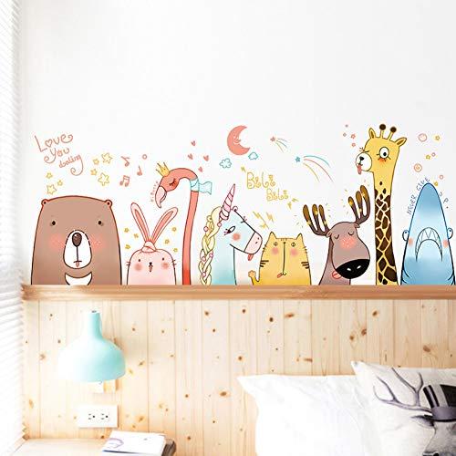 TAOZIAA Super Niedlichen Tier Avatar Cartoon Wandaufkleber Hirsch Flamingo Einhorn Bär Kaninchen Katze Hai Kinderzimmer Sockel Taille Linie Aufkleber