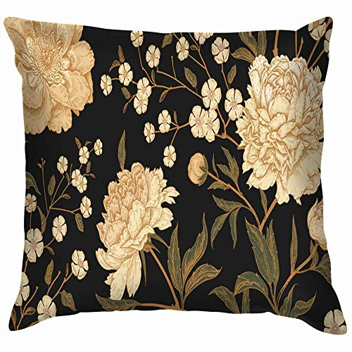 Moily Fayshow Floral Vintage Flowers Peonies Nature Oriental Pillow Case Throw Pillow Cover Square Cushion Cover 55X55 Cm