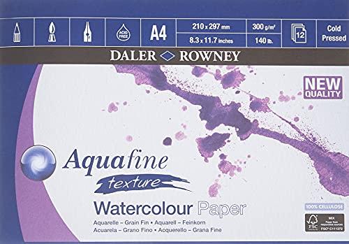 Bloc Encolado ideal para Acuarela DALER ROWNEY Aquafine, de Formato 21 x 29,7 cm, con 12 Hojas de Papel de 300 g/m2 de Grano Grueso