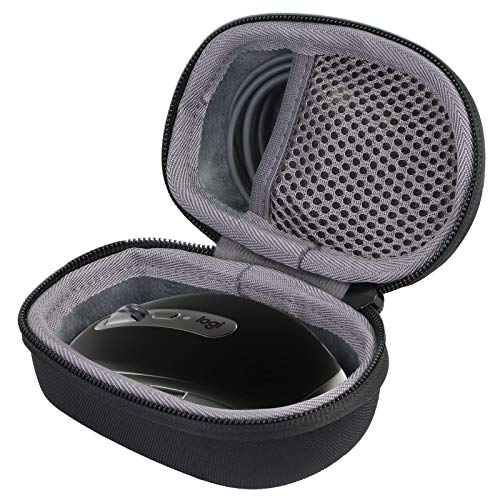 co2crea Hard Travel Case Replacement for Logitech MX Anywhere 2 3 Gen 2S Wireless Mobile Mouse (Black Case + Inner Grey)