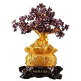 Crystal Money Trees Apertura de amatista de cristal árbol Bonsai árbol del dinero for la abundancia y la suerte Feng Shui Árbol de moneda Tienda de la sala la decoración del hogar Decoración Árbol de