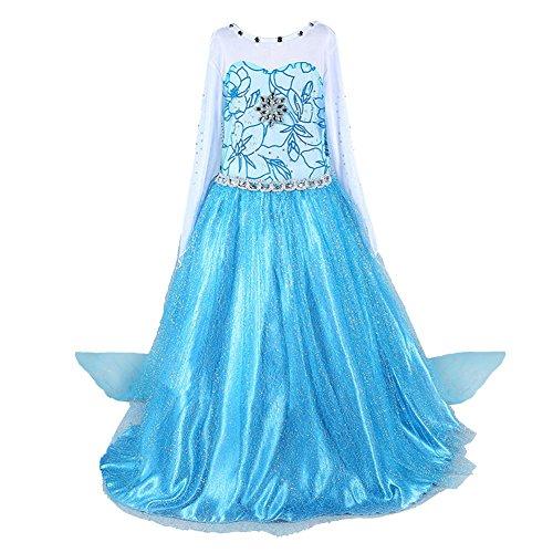 Alva Shop Cacilie® Prinzessin Kostüm Kinder Glanz Kleid Mädchen Weihnachten Verkleidung Karneval Party Halloween Fest (120(Körpergröße 120cm), ELSA #02)