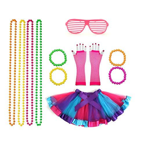 Rpanda 80er Mädchen Neon Tutu schick Kleid Outfit Komplettes Set, Kostüme der 80er Jahre Fancy Dress Party Accessoires mit Fishnet Gloves Halsbänder und Neon Wrist Beads