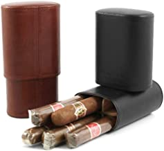 Andre Garcia Triomphe Collection Classic Brown Italian Leather Cedar-Lined Telescopic 6 Finger Cigar Case with Removable Divider