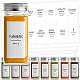 Talented Kitchen 140 Minimalist Spice Labels Set. Black Print on White Matte Backing, Water Resistant. Spice Jars Vinyl Organization Storage. Spice Rack Organization System (140 Fine Line Spice Label)
