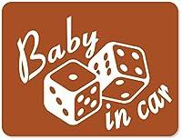 imoninn BABY in car ステッカー 【マグネットタイプ】 No.30 ダイス (茶色)