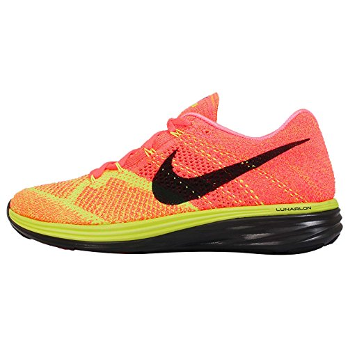 Nike Flyknit Lunar 3 Mens Hot Lava/Black/Volt/Laser Orange Running Sneakers