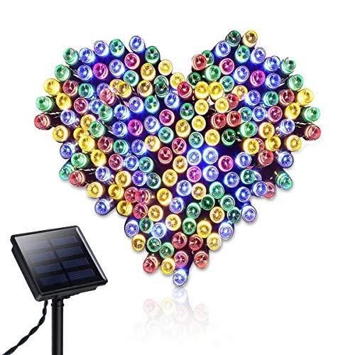Spardar - Guirnalda solar con 200 luces LED, 8 modos de iluminación, para exteriores, jardines, fiestas, bodas, árboles de Navidad, decoración del hogar
