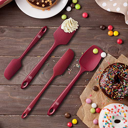 Spatula Silicone Spatula Set Spatulas Silicone Heat Resistant 600°F Rubber Spatula Seamless One Piece Non-Stick 5-Piece For Cooking Baking Mixing