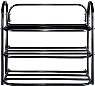 icon Heavy Metal Home Utility Foldable Shoe Rack 3 Shelves Durable and Multipurpose Shoe Rack/Shoe Stand/Shelf Book Stand/...