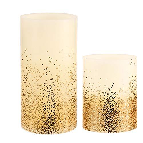 Pauleen 48128 Golden Glitter Candle Wachskerze mit Batterie mit Timerfunktion 6H Timer LED Kerze 2er Set elfenbein,gold