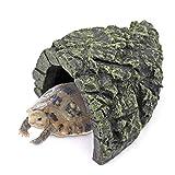 Cueva Oculta de Peces Mini Piedras de Paisaje Acuario para Tortugas Adorno de Decoración de Hábitat Adecuado para Reptiles Tortuga Rana Zoológico Decoración de Acuario Decoración de Resina de Acuario
