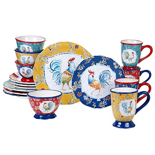 Morning Bloom 16-Piece Dinnerware Set (Service for 4) Blue Multi Color White Rooster Casual Modern Contemporary Round Ceramic 16 Piece Dishwasher Safe Microwave