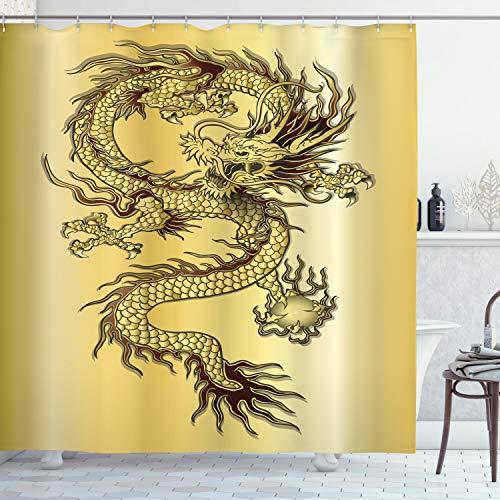 ABAKUHAUS Drachen Duschvorhang, Chinesischer Ost-Mythos, mit 12 Ringe Set Wasserdicht Stielvoll Modern Farbfest und Schimmel Resistent, 175x200 cm, Senf Schwarz