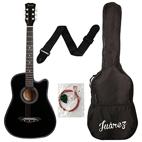 Juarez Acoustic Guitar, 38 Inch Cutaway, 038C With Bag, Strings, Pick And...