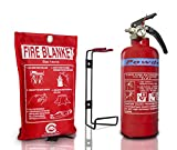 British Standard KITEMARKED FSS UK 600 G ABC Dry Powder FIRE Extinguisher with CE Marked FIRE Blanket. Ideal for Boats Homes Kitchen Workplace Offices Warehouses GARAGES Restaurants. Rating 21 B