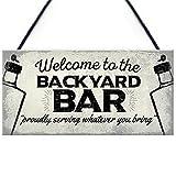 SJHFG Etiqueta de decoración de la barra de bienvenida al patio trasero Mental piscina agujeros eslogan arte metal para el hogar Pub fiesta de cumpleaños eventos de Navidad