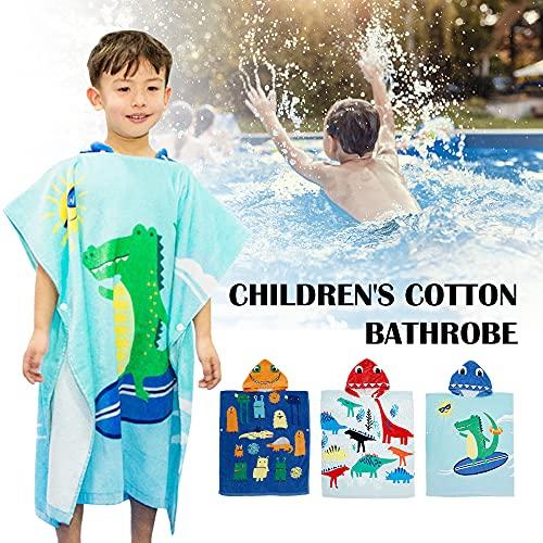 Toalla para Cambiar de Bata para niños Toalla de natación de Playa con Capucha para niños Albornoz de Dibujos Animados de algodón para niños Toalla de Poncho de baño de Secado rápido