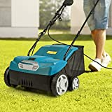 Taltintoo20 1400 Watts 13 inches Electric Scarifier and Lawn Dethatcher with Collection Bag 40 Liter, Size 22 x 26.5 x 40 inches, Grass Height Settings -0.4 / -0.2/0 / 0.2 inches