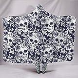 CICIDI Manta con capucha, diseño de calavera de azúcar, floral, con capucha, hecha a mano, hippie, yoga, meditación, festival, manta vegana, Zen, manta para exteriores de 152 x 200 cm