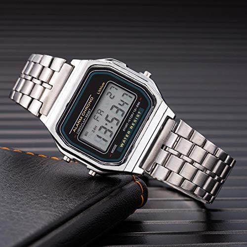 yuge Reloj digital de mujer de moda de acero inoxidable cadena reloj de pulsera con negocios electrónico reloj de los hombres plata