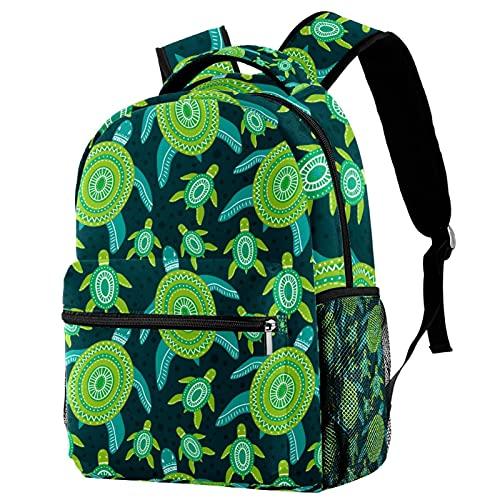 Vorschule Kinder Rucksack Kindergarten Kleinkind Rucksack Schildkröten Meeresgrün Reiserucksack Tagesrucksack für Kinder Teenager 29.4x20x40cm