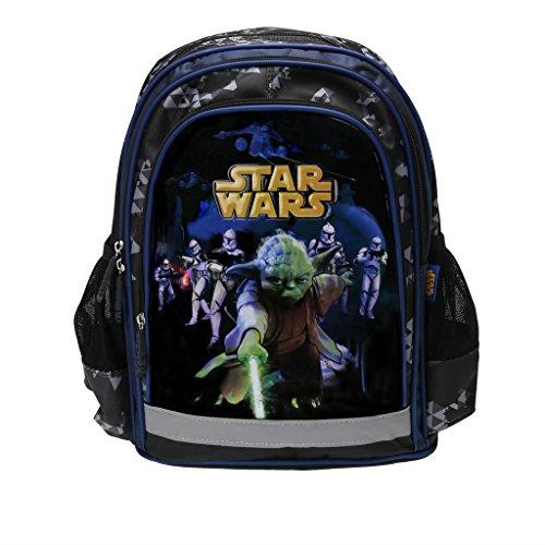 Star Wars, Maxi&Mini - Zaino cartella per la scuola di Star Wars, Guerra dei Cloni, con Yoda e Darth Fener, novità