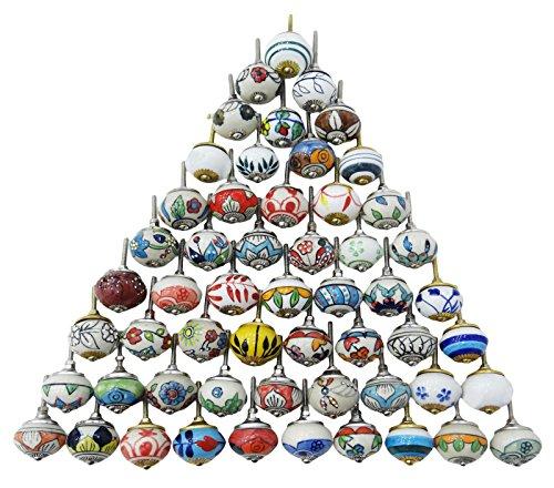 Indianbeautifulart Cajones de cerámica Multicolores Surtidos perillas Armario de Puerta Tira de...