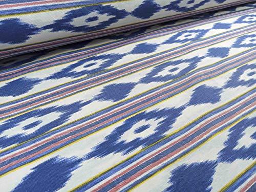 RIVERO TEJIDOS. Tejido de loneta con estampado mallorquín con 280 cm de ancho. Se vende por metros. Ideal para la confección de cortinas, manteles.