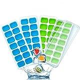4Pcs Moule à Glaçons avec Couvercle Ice Tray Ice Cube de 14 Compartiment Glaçons Glaçons Boîte Bac à Glaçons Plateau De Glace Moule Bar Partie Vin Glaçons Maker Plateau De Glace Outil (bleu+vert)