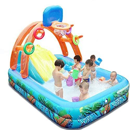 HQL Piscina para niños con Canasta de Baloncesto y aspersor, Piscina para niños, Juguetes de tobogán acuático de Verano al Aire Libre, para niños de más de 3 años, niñas, Mascotas Familiares