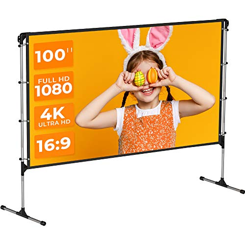 VANKYO StayTrue Projector Screen with Stand, 100 inch Portable Projection Screen, 4K HD 16:9 Wrinkle-Free Outdoor Indoor Movie Screen (1.1Gain, 160° Viewing Angle & Includes a Carry Bag)