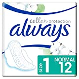 Always Cotton Protection Ultra Normal (Taille 1) Serviettes Hygiéniques Avec Ailettes x12